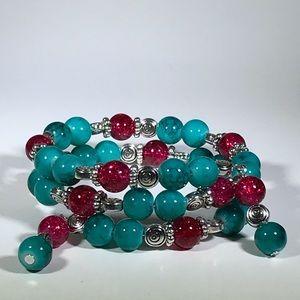 Jewelry - Handmade Turquoise & Red beaded bracelet